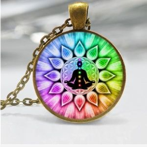 Flower of Life Chakra Photo Tibet Silver Cabochon